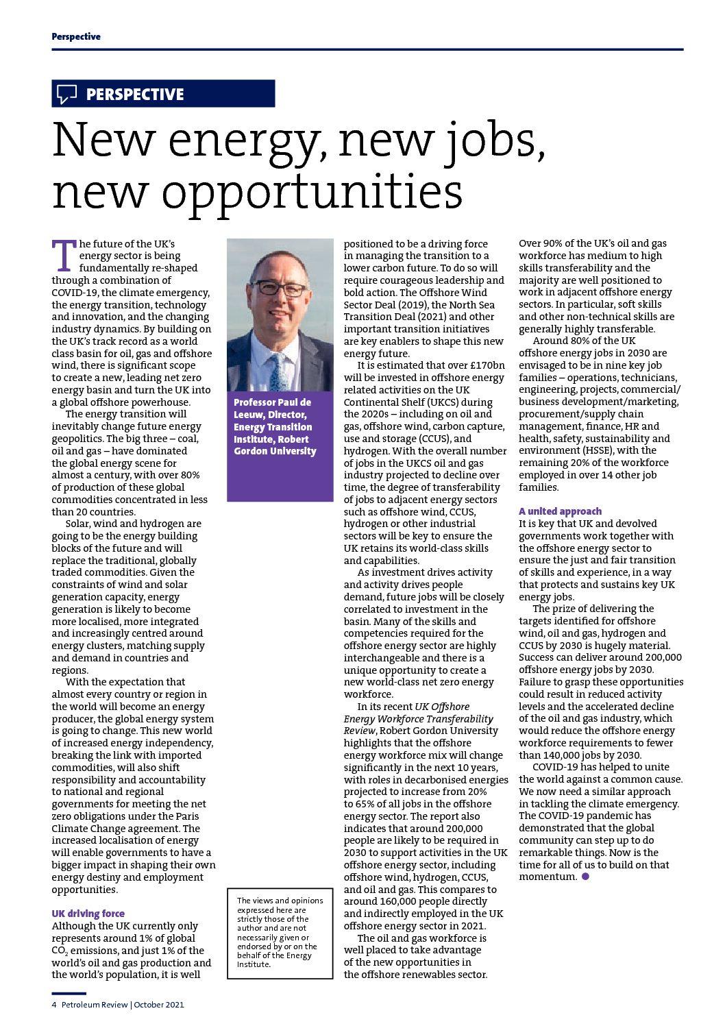 New energy, new jobs, new opportunites